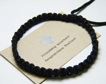 Thai Buddhist Braided Cotton Wristband Bracelet Monk Blessed Friendship Fair Trade Handmade adjustable Black Color