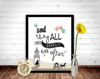 And They Lived Happily Ever After Poster, Fairytale Quote, Fairytale Print, Fairytale Art, Childrens Prints