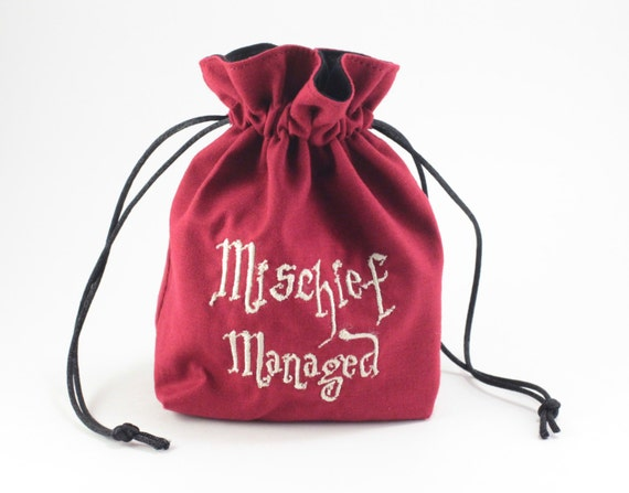 SALE Mischief Wizard Map Drawstring Bag, Dice Bag