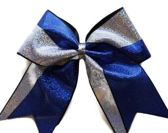 Cheer Bow,Royal Blue,Silver view B