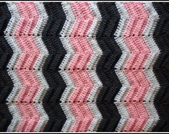 Handmade Crochet Pink, Gray and White Baby Blanket