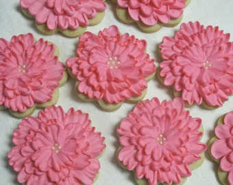 Pink Carnation Decorated Sugar Cookies - Flower Cookies, Floral, Wedding, Bridal, Shower, Party Favors, Mothers Day, Garden Theme, Custom