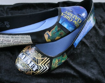 The Great Gatsby Flats F Scott Fitzgerald Classic Literature Flats Wedding Flats Wedding Shoes Literature Shoes Book Flats