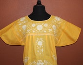Mexican Peasant Dress/ Blouse- Colorful Flowers Embroidered by Hand- Yellow (Large-XL)- BOHO- Trendy