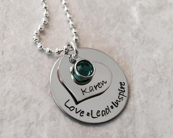 Love Lead Inspire teacher necklace personalized birthstone thank you love teach inspire girl scouts leader hand stamped jewelry custom