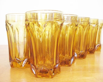 Tumblers, Set of 8  Amber Gold 8 oz. water glasses, iced tea glasses