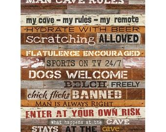 MA1077 - Man Cave Rules - 12 x 16