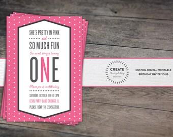 Pretty In Pink First Birthday Invitation. Baby Girl. 1st Birthday. Polka Dots. Custom Digital Printable