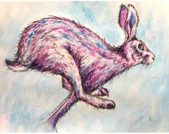 Electric Hare A3 Original Acrylic Painting