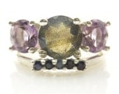 Iemanjá Amethyst and Labradorite Ring with Blue Sapphire Ondine in Sterling