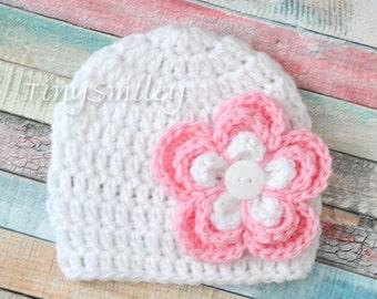 Newborn Baby Gil Hat, White Baby Girl Hat, White Baby Girl Flower Beanie, White Baby Hat, Photo Prop, Newborn Hat, White Hat