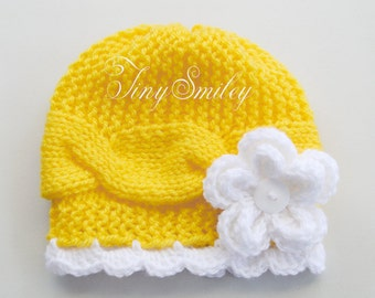 Yellow Baby Hat, Knit Baby Hat, Cable Baby Girl Hat, Knit Baby Hat, Yellow Hat, Newborn Gift, Infant Hat, Girls Hats, Baby Girl