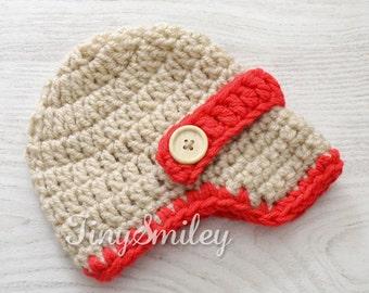 Newsboy Baby Hat, Beige Newsboy Hat, Beige and Red Newsboy Hat, Crochet Baby Hat, Beige Baby Boy Hat, Baby Boy Hat, Newborn Newsboy Hat
