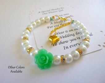 Flower Girl Bracelet, Flower Girl Gift, Pearl Flower Girl Jewelry, Pearl Flower Girl Bracelet, Pearl Childrens Bracelet, Childs Bracelet