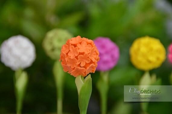 Orange Ball Flowers Orange Ball Flower Polymer