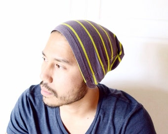 Slouchy Beanie, christmas gift,beanie, winter hat, summer beanie- dark grey yellow-ready to ship-guy gift, gifts for him,dad gift, teen gift