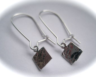 Sterling Silver Hand Stamped Square Earrings