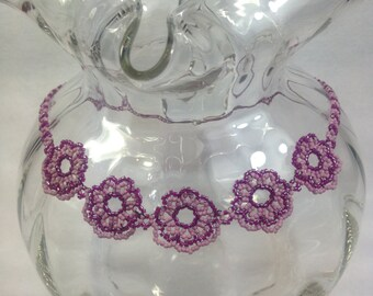 Delicate Purple and Pink Beadwoven Necklace