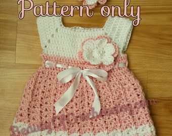 Flower power dress 0-6 months. Crochet baby girl newborn dress and headband. Digital pattern.