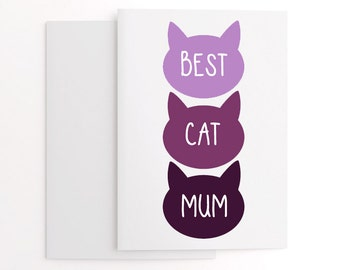 From the cat - mother's day card - fur baby gift - best cat mum - cute card for mum - gift for her - crazy cat lady