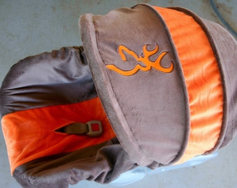 brown minky with orange minky infant car seat cover and hood cover with large embroidery buck mark in orange