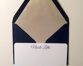 Personalized Stationery Flat Note Card Set with Gold Stripe Lined Navy Envelopes