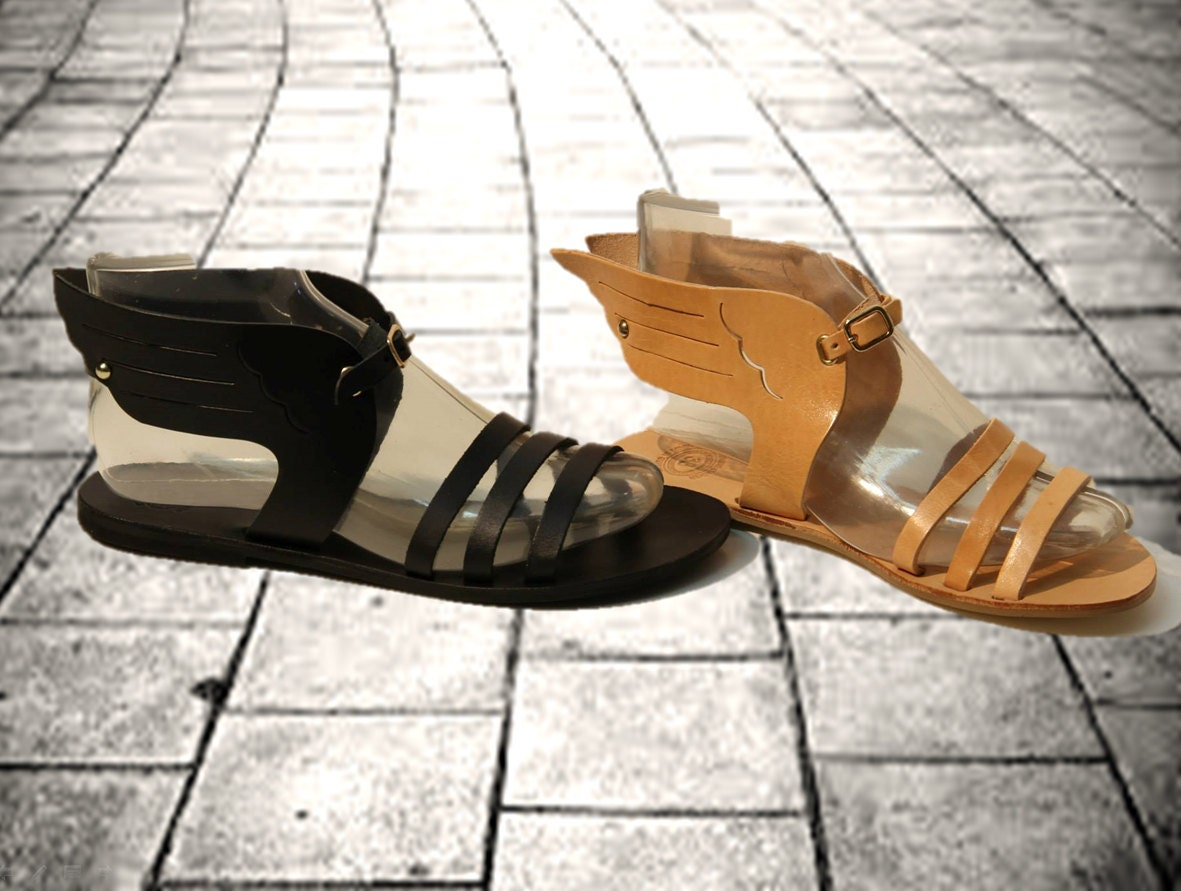 Hermes sandals dance shoes - Women Sandals In Tan Black Gold Greek Wing Leather Sandals Hermes Sandals Goddess Sandals Authentic Leather Sandals Women Shoes