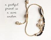 LIMITED SUPPLY: NEW dainty pave anchor bracelet { black }