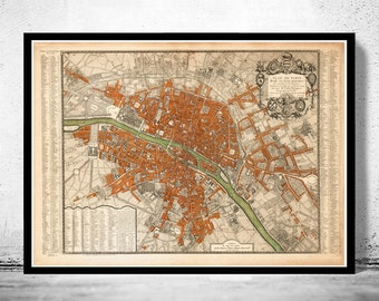 Old Map of Paris 1744 France Vintage Paris Plan