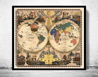 Old Map of The World  1928 Antique map