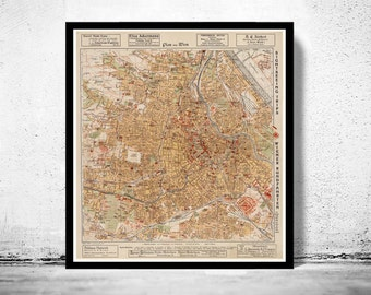 Old Map of Vienna Wien  Austria 1928