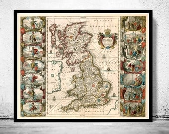Old Map of United Kingdom, Ireland, Scotland, England 1642 UK, Britannia