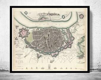 Old Map of Antwerp, Belgium 1832 Antique Vintage Flanders