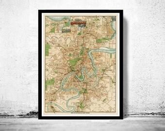 Vintage Map of Brisbane City , Australia Oceania 1920