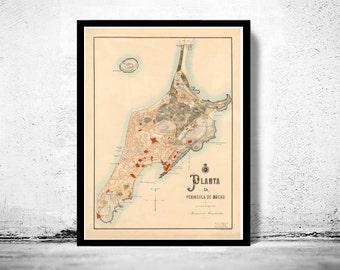 Old Map of Macau Macao 1889 China