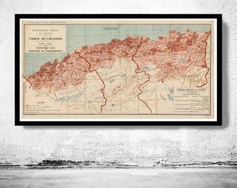 Old Map of Algeria Algerie 1870 Vintage map