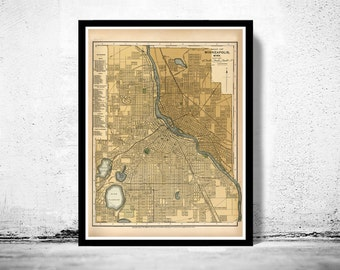 Old map of Minneapolis 1901