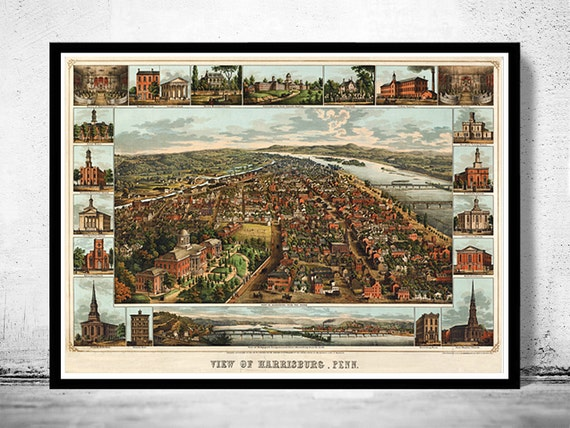 Harrisburg (IL) United States  city images : ... of Harrisburg Pennsylvania , Panoramic view United States Vintage 1855