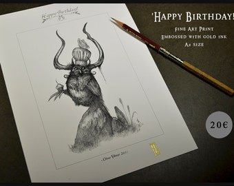 Happy birthday -  - A4 Fine Art Print - Signed and embossed - Fantasy Art