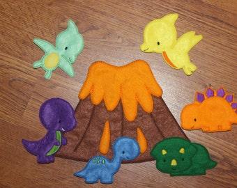 Volcano & Dinosaur Finger Puppets