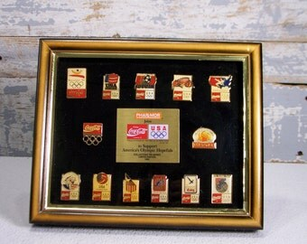 Olympic 1992 Pins Limited Collectible Rare Coca Cola 1992 OLYMPIC Coke Pin Set Frame & Original Box Coke Colelctible Sports Collector