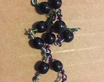 Genderqueer Pride Bracelet Black Glass Purple/Green/Silver Wire
