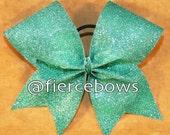 Aqua Glitter Cheer Bow