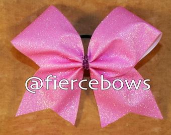 Light Pink Iridescent Glitter Cheer Bow