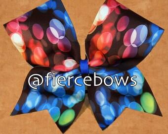 Rainbow Bubbles Sublimated Cheer Bow