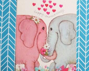 Vintage Elephant Anniversary Card