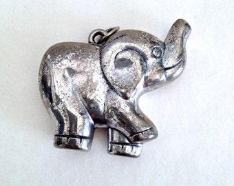 Elephant Pendant, Jewellery, Silver Coloured Metal Elephant, Good Luck Happy Elephant