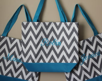 Chevron Tote Bags, Set of 3 Bridesmaid Bags, Aqua Blue and Gray Bags