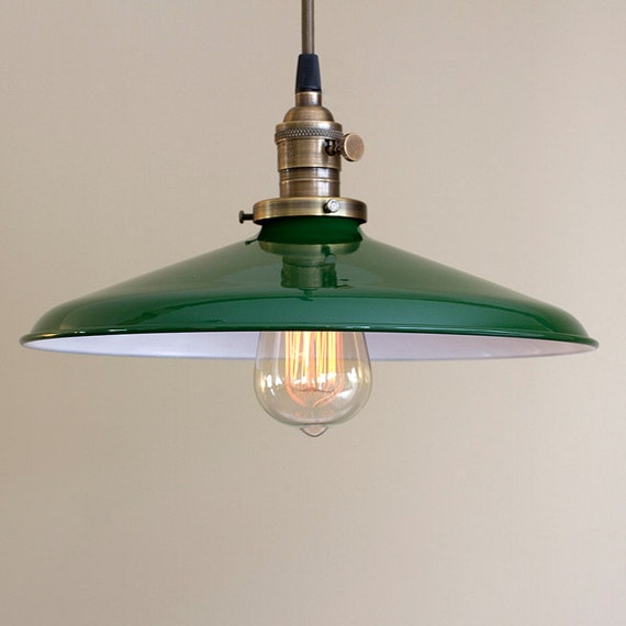 Pendant Light Fixture 14 Metal Porcelain Enamel Green
