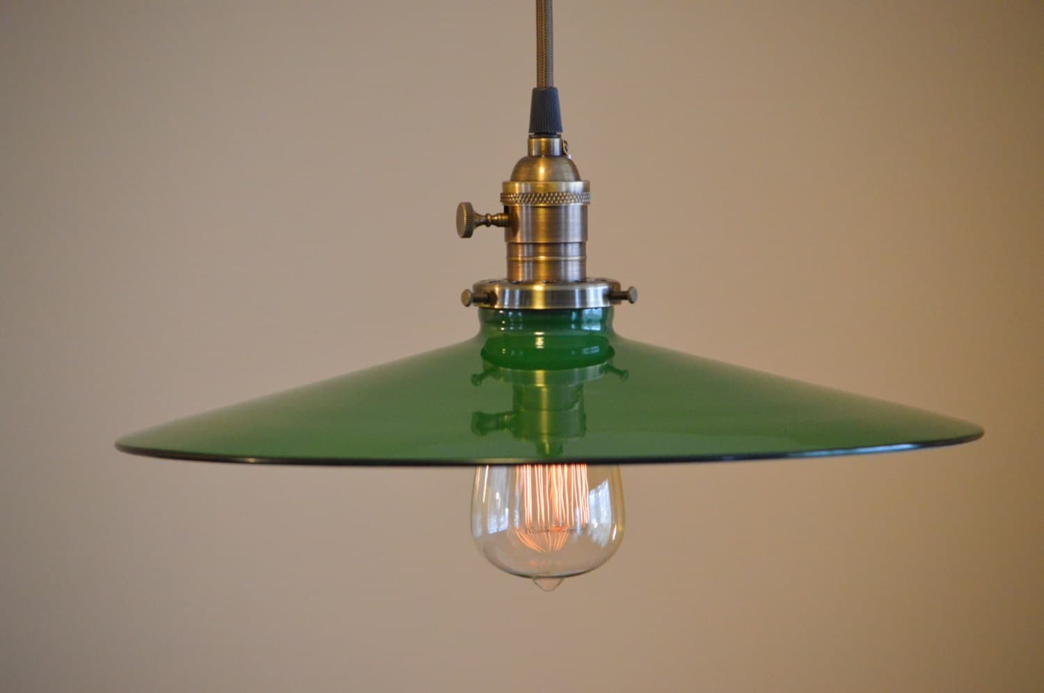 Vintage Industrial Flat Green Metal Shade Light Fixture